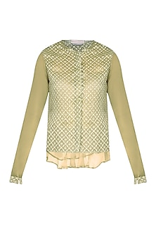 Olive Organza Cutwork Cropped Top