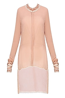 Peach Embellished High-Low Shirt