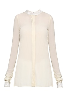 Ivory Embellished High-Low Shirt