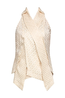 Ivory Pearl Embellished Cutwork Overlap Tailcoat