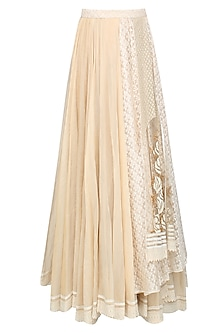 Ivory Sequins Sheathed Rose Motif Layered Skirt