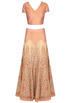Peach Dabka and Sequins Embroidered Lehenga Set With Gold Embellished Dupatta