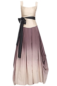 Aubern to ivory ombre dyed drape skirt and corset set