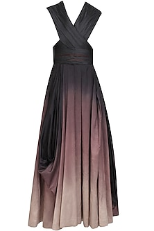 Black, burgundy and rose ombre shaded drape dress