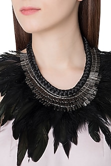 Gunmetal Plated Faux Rooster Feathers Necklace