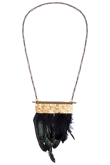 Gold Plated Brass Pipe and Chain Necklace with Faux Rooster Feathers by Store Without A Name