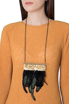 Gold Plated Brass Pipe and Chain Necklace with Faux Rooster Feathers