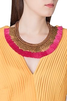 Antique Copper Brass Sequins and Fringe Lace Necklace