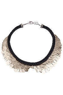 Silver Plated Black Collar Sequins Necklace by Store Without A Name