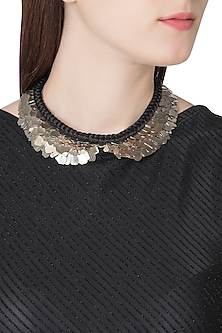 Silver Plated Black Collar Sequins Necklace