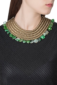 Gold Plated Green Lace and Agate Beads Embroidered Necklace