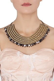 Gold Plated Brown Agate Beads Embroidered Necklace