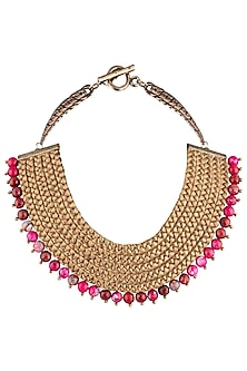Gold Plated Fuschia Pink Agate Beads Embroidered Necklace by Store Without A Name