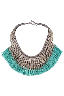 Silver Plated Antique Green Fringe Lace Necklace by Store Without A Name