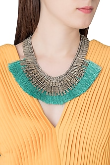 Silver Plated Antique Green Fringe Lace Necklace