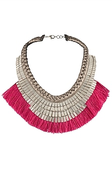 Silver Plated Fuschia Pink Fringe Lace Embroidered Necklace by Store Without A Name