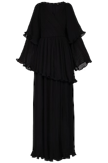 Black pleated peplum gown