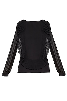 Black pleated top by Swatee Singh