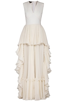 Ivory pleated frill gown by Swatee Singh