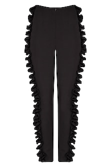 Black textured frill pants
