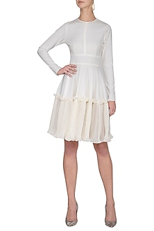 Ivory textured frill dress by Swatee Singh