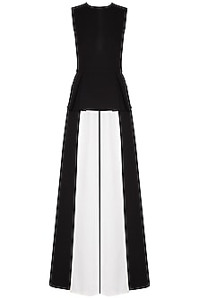 Black and ivory box pleated jumpsuit