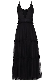 Black frill tiered strappy dress by Swatee Singh