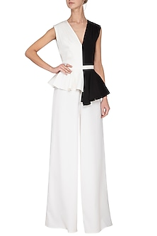 Black and ivory pleated peplum jumpsuit by Swatee Singh
