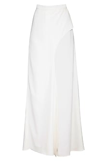 Ivory flared drape pants by Swatee Singh