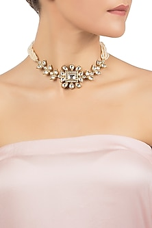 Antique Gold Plated Zircon and Pearls Necklace