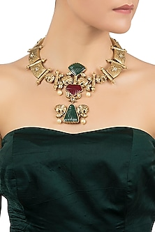 Antique Gold Plated Red and Green Onyx Necklace