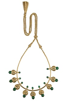 Antique Gold Plated Green Onyx and Zircon Necklace by Symetree