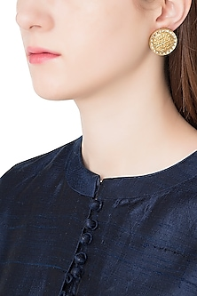 Antique Gold Plated Zircon Stud Earrings
