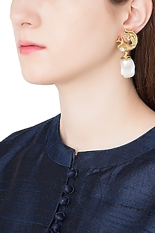 Antique Gold Plated Zircon and Pearl Drop Earrings