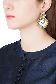 Antique Dual Plated Peacock Motif Zircon Earrings