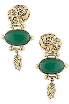 Antique Gold Plated Elephant Motif Zircon Earrings by Symetree