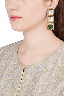 Antique Gold Plated Zircon and Aventurine Earrings