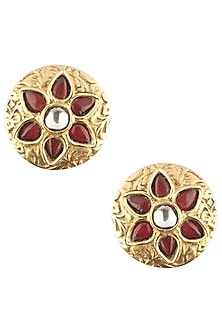 Antique Gold Plated Zircon and Red Quartz Stud Earrings by Symetree