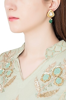 Antique Gold Plated Zircon and Green Onyx Drop Earrings