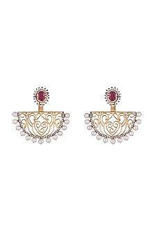Gold & Black Rhodium Finish Zircon Pearl Earrings by Tanvi Garg