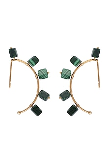 Gold Finish Malachite Stones Earrings by Tanvi Garg