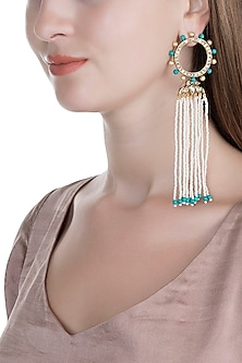 Gold Finish Kundan, Pearls & Turquoise Stones Handcrafted Earrings by Tanvi Garg