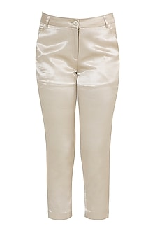Beige Ankle Length Trouser Pants by Tara and I