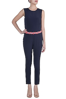 Navy Blue Jumpsuit With Embroidered Belt by Tara and I