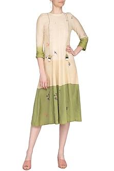 Green and beige jamdani tunic by Tahweave