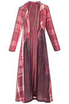 Plum and pink halter dress with checks overlayer jacket by Tahweave
