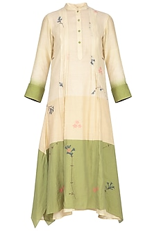 Beige and green jamdani pleated tunic by Tahweave