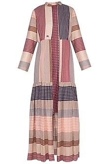 Plum chatai dress with multi colored striped overlayer jacket