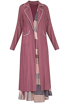 Multi colored pleated dress with plum overlayer jacket by Tahweave