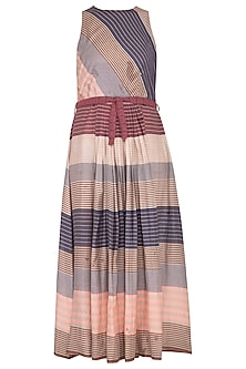Multi colored striped pleated dress by Tahweave